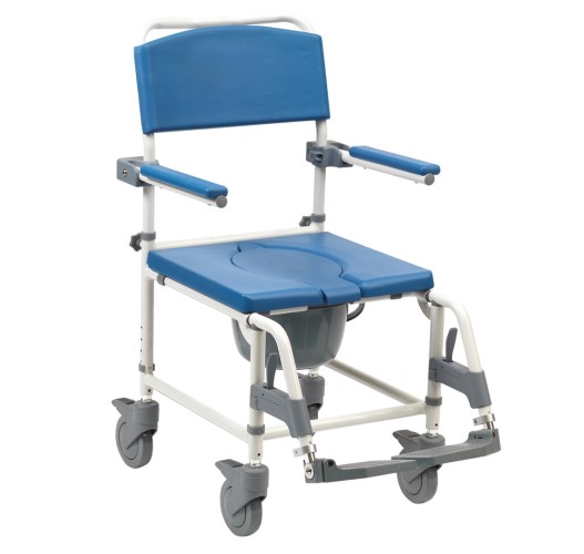 ASTON ALU SHOWER/COMMODE CHAIR WITH 4 CASTOR BRAKE